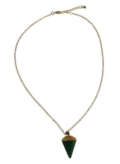 Minimalist chic statement necklace with green cone