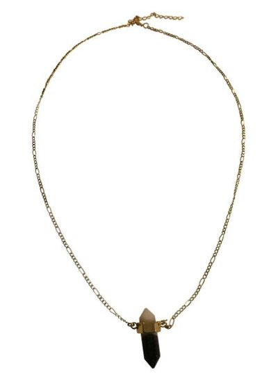 Long minimalist chic statement necklace with black-white stone