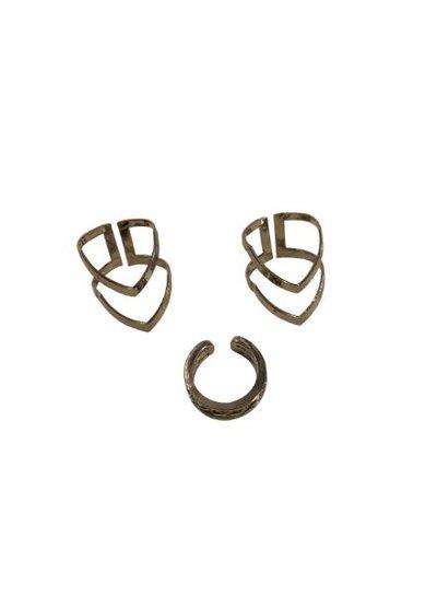 Edgy minimalist chic statement ringen set 3 pcs zilverkleurig