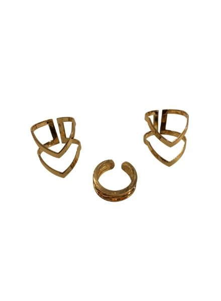 Edgy minimalist chic statement ringen set 3 pcs goudkleurig