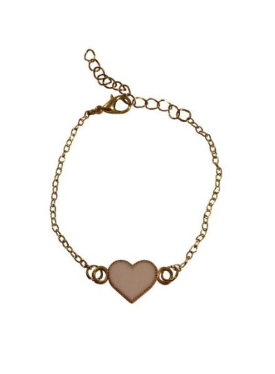 Minimalistic statement bracelet with white heart