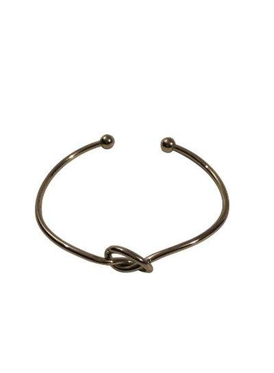 Zilverkleurige minimalist chic statement cuff armband met knoop