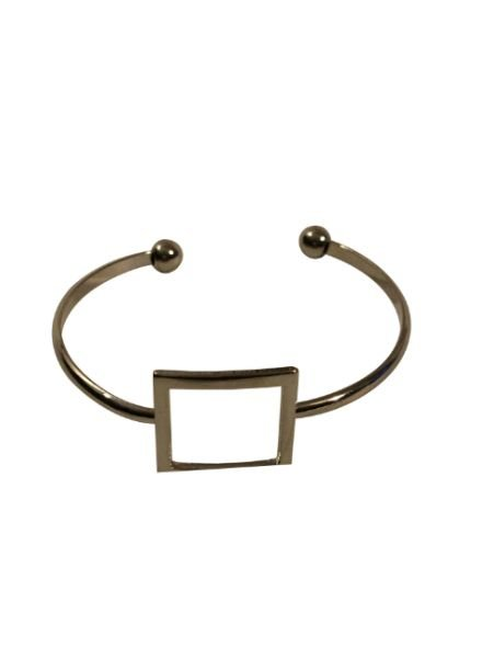 Silver colored minimalistic chic statement cuff bracelet square