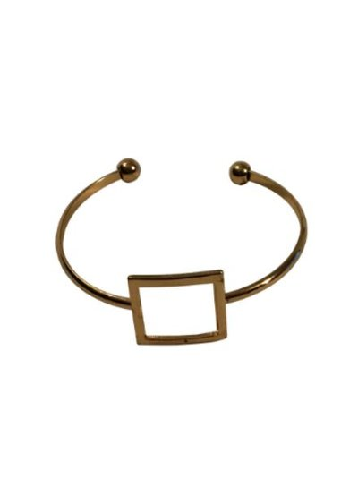 Goudkleurige minimalist chic statement cuff armband met vierkant