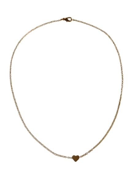 Gold colored minimalistic chic statement necklace with heart