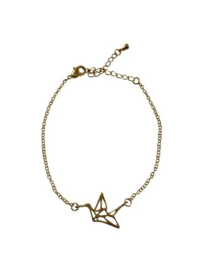 Minimalistic statement bracelet with bird gold colored