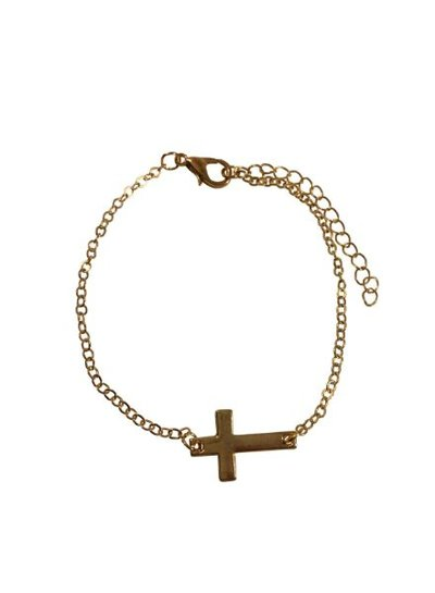 Minimalistic statement bracelet with cross gold colored