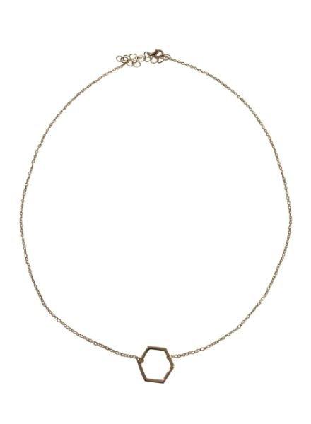 Zilverkleurige minimalistic chic statement ketting met zeshoek