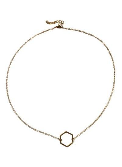 Goudkleurige minimalistic chic statement ketting met zeshoek