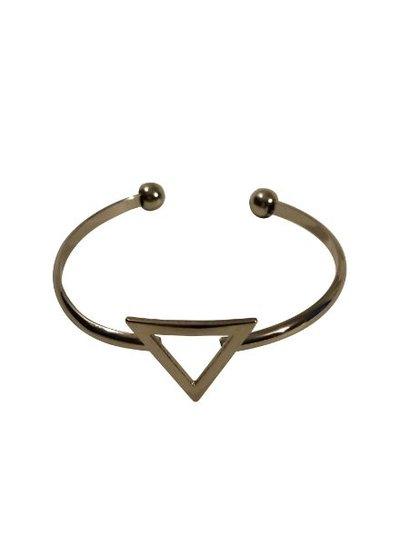 Zilverkleurige minimalist chic statement cuff armband met driehoek