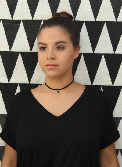 Minimalistic statement choker necklace with black triangle