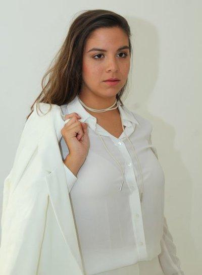 Long white minimalistic statement choker necklace