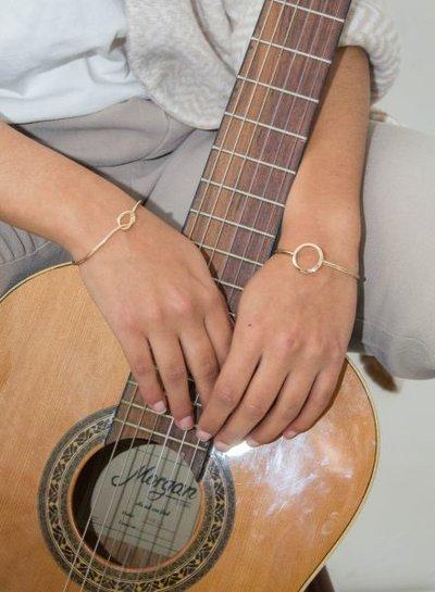 Gold colored minimalistic chic statement cuff bracelet circle