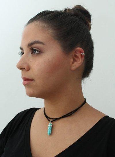Minimalistic silver colored statement clip earring triangle