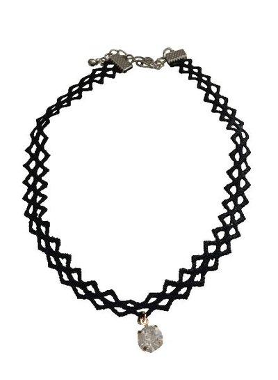 Cool statement choker necklace with rhinestone