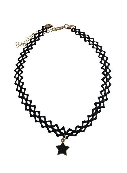Cool statement choker necklace with black star