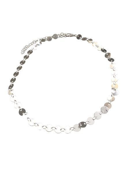 chique statement choker necklace silver colored