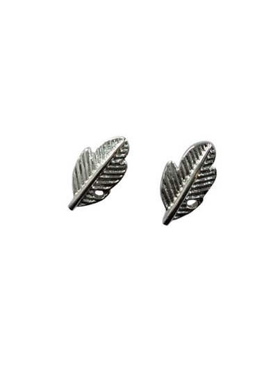 Minimalistic statement earrings feathers silver colored
