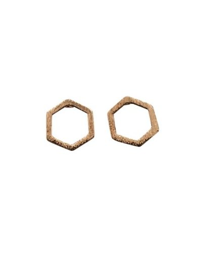 Minimalistic statement earrings open hexagon rose gold colored