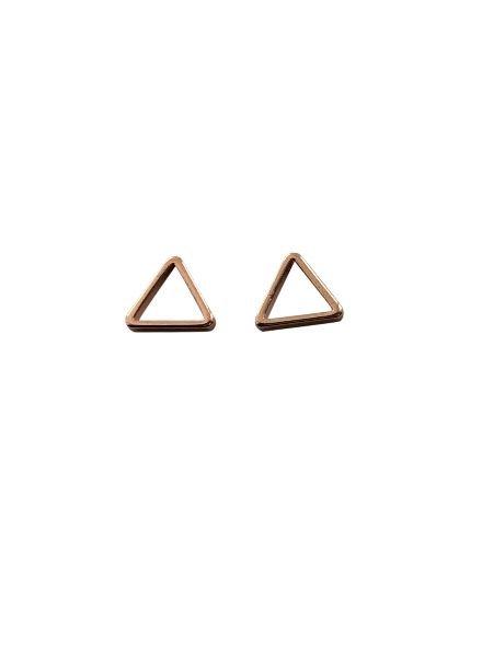 Minimalistische statement oorbellen open driehoek rosé goudkleurig