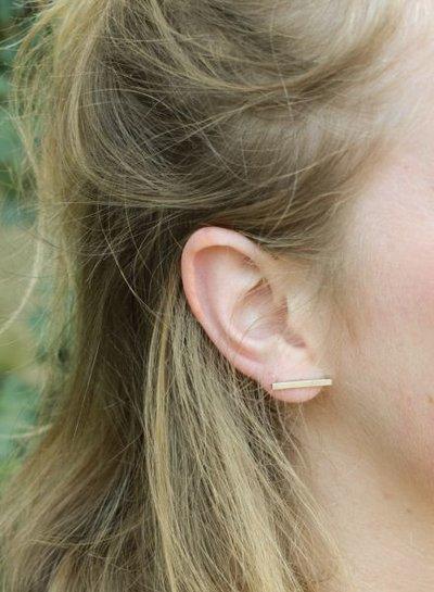 Minimalistische statement oorbellen staafjes XL goudkleurig
