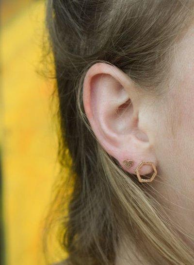Minimalistische statement oorbellen open zeshoek rosé goudkleurig