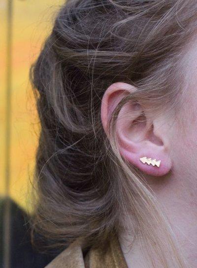 Coole minimalistische statement oorbellen driehoekjes goudkleurig