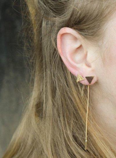 Lange, edgy statement oorbellen met driehoek zilverkleurig