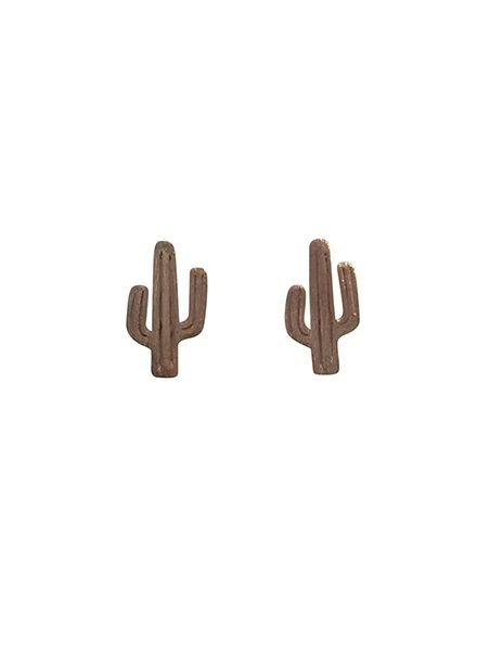 Minimalistic statement earrings cactus rose gold colored