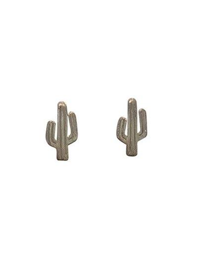 Minimalistische statement oorbellen cactus zilverkleurig