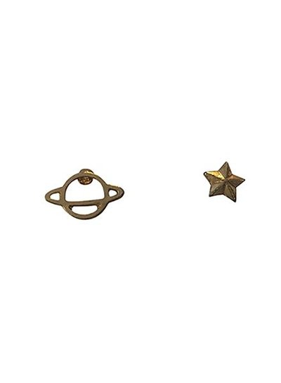 Minimalistische statement oorbellen Saturnus goudkleurig
