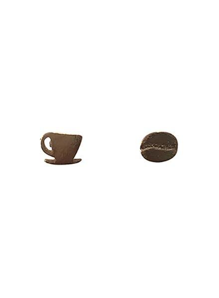 Minimalistische statement oorbellen koffie lover