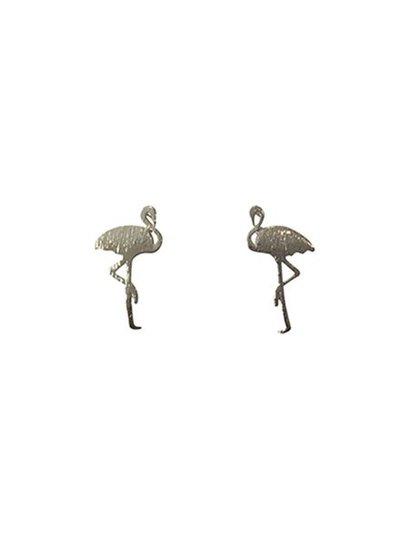 Minimalistische statement oorbellen flamingo zilverkleurig