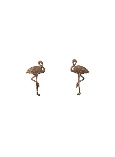 Minimalistic statement earrings flamingo rose gold colored
