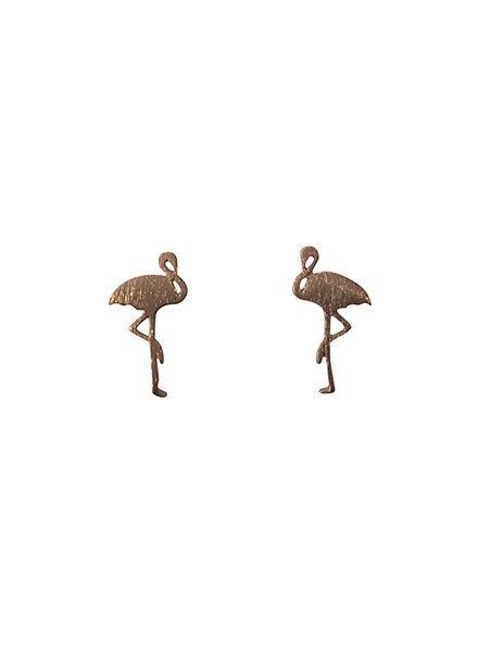 Minimalistische statement oorbellen flamingo rosé goudkleurig