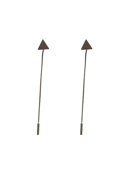 Long, edgy statement earrings with triangle silver colored