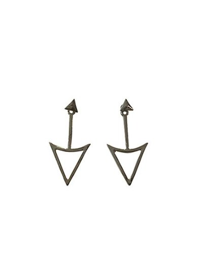 Edgy rock chic statement earrings with arrow silver colored