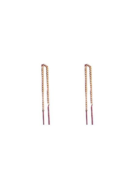 Long minimalistic statement earrings rose gold colored
