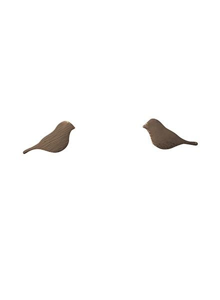 Minimalistic statement earrings birds rose gold colored
