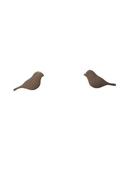 Minimalistische statement oorbellen vogel rosé goudkleurig