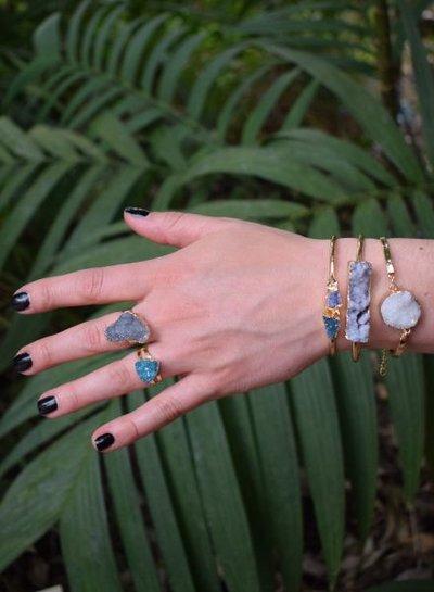 Minimalist chic nature stone statement ring triangle blue