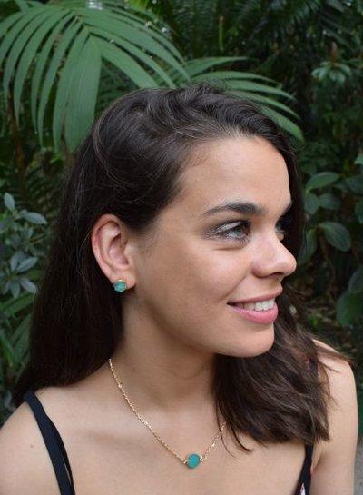 Minimalist chic nature stone statement earrings green
