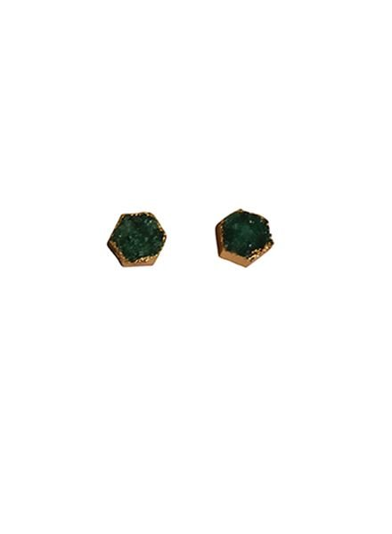 Minimalist chic nature stone statement earrings green