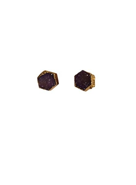 Minimalist chic nature stone statement earrings purple