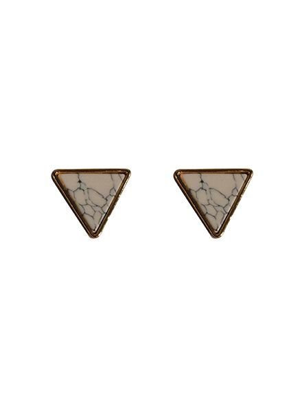 Minimalist chic marble statement earrings triangle white