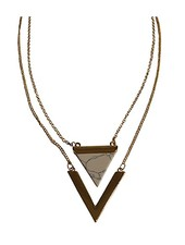 Minimalist chic marble statement necklace triangle white