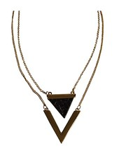 Minimalist chic marble statement necklace triangle black