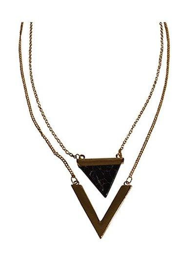 Minimalist chic marble statement ketting driehoek zwart