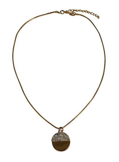 Minimalist chic marble statement necklace round white