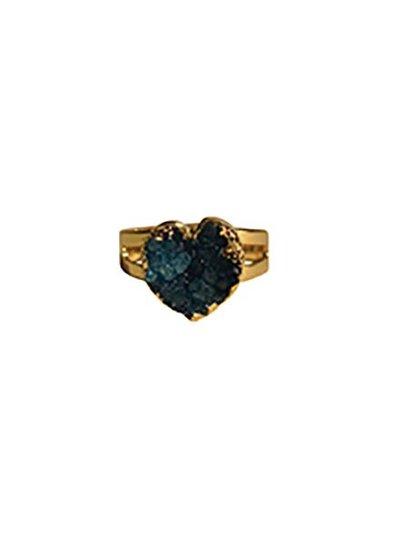 Minimalist chic natuursteen statement ring hart blauw